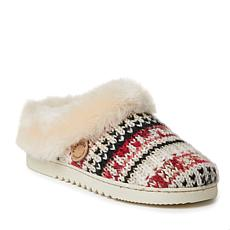 Dearfoams Women's Adelaide Fairisle Knit and Shearling Clog Slipper