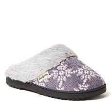 Dearfoams Women's Chenille Knit Scuff Slipper with Fuzzy Cuff
