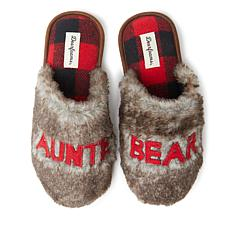Dearfoams Women's Furry Auntie Bear Scuff Slipper