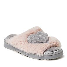 Dearfoams Women's Furry Heart Slide
