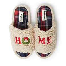 Dearfoams Women's Lane Holiday Slide with Applique Slipper