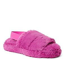 Dearfoams Women's Luna Furry Slide with Elastic Strap Slipper