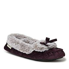 Dearfoams Women's Quilted Velour Moccasin with Bow