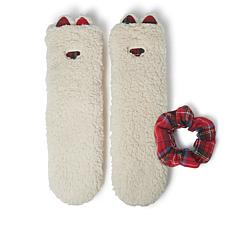 Dearfoams Women's Sherpa Flurry Slipper Sock with Plaid Scrunchie