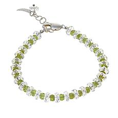 "Deb Guyot 37.02ctw Herkimer ""Diamond"" Quartz and Peridot Bracelet"