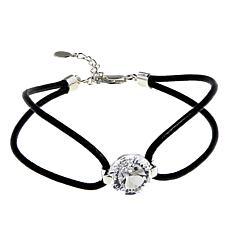 "Deb Guyot 5ct Grandeur-Cut Herkimer ""Diamond"" Quartz Leather Bracelet"