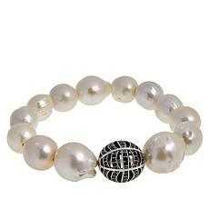 Deb Guyot Studio Cultured Pearl and Black Spinel Stretch Bracelet