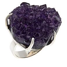 Deb Guyot Studio Sterling Silver Drusy Amethyst Slice Ring