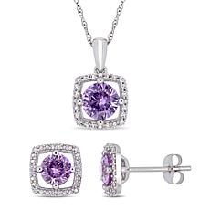 Delmar 10K Created Alexandrite & Diamond Pendant Necklace and Earrings