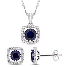 Delmar 10K Gold Created Sapphire & Diamond Pendant Necklace & Earrings
