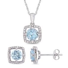 Delmar 10K Gold Sky Blue Topaz & Diamond Pendant Necklace & Earrings