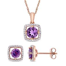 Delmar 10K Rose Gold Amethyst & Diamond Pendant Necklace & Earrings