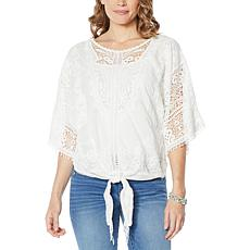 Democracy 2-piece Tie-Front Crochet Top with Camisole