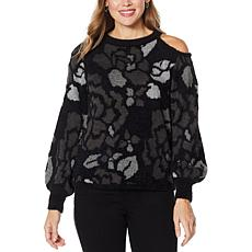 Democracy Cold-Shoulder Rose Jacquard Sweater