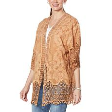 Democracy Embroidered Crochet Kimono Topper