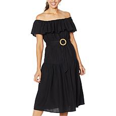 Democracy Off-Shoulder Tiered Flounce Dress with Belt