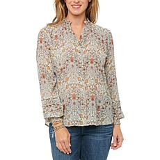 Democracy Pleat Blouson L/S, Smock Neck Button Down, Paisley Foil Top
