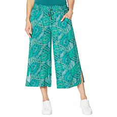 Democracy Printed Wide-Leg Crop Pant