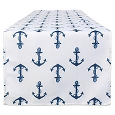 "Design Imports 14"" x 108"" Anchors Print Outdoor Table Runner"