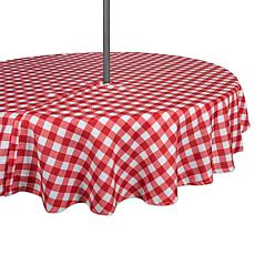 "Design Imports 52"" Red Check Round Outdoor Tablecloth with Zipper"
