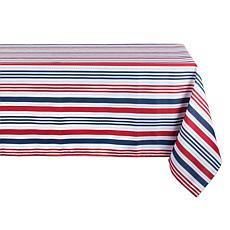 "Design Imports 60"" x 120"" Patriotic Stripe Outdoor Tablecloth"