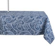 "Design Imports 60"" x 84"" Blue Paisley Print Tablecloth with Zipper"