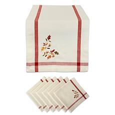 Design Imports 7-Piece Natural Embroidered Fall Leaves Table Set