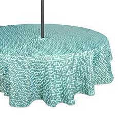 "Design Imports Aqua Diamond Outdoor Round Tablecloth w/Zipper - 60"""