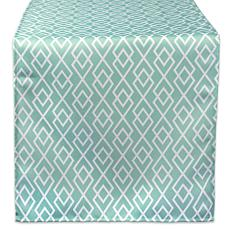 "Design Imports Aqua Diamond Outdoor Table Runner - 14"" x 108"""
