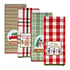 Design Imports Assorted Holly Jolly Embellished Kitchen Towels 4-pack