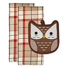 Design Imports Autumn Owl Potholder Gift Set
