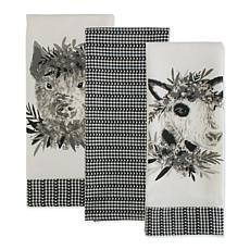 Design Imports Barn Animals Embellished Kitchen Towels Set of 3