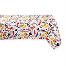 "Design Imports BBQ Fun Print Outdoor Tablecloth - 60"" x 84"""