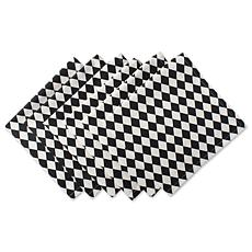 Design Imports Black and Cream Harlequin Napkins Set of 6