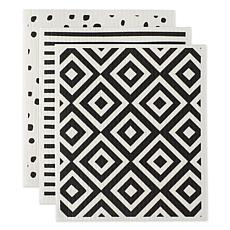 Design Imports Black and White Swedish Dishcloths 3-pack