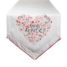 "Design Imports Bon Apetit Sleur Heart Print Table Runner - 14"" x 72"""