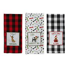 Design Imports Christmas Puppy Embellished Kitchen Towel Set of 3