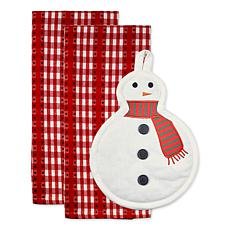 Design Imports Cozy Snowman Potholder and Towel Gift Set 3-pack