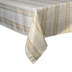 "Design Imports Cream Metallic Plaid Tablecloth 52"" x 52"""