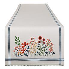 "Design Imports Flower Garden Embellished Table Runner - 14"" x 108"""