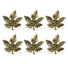 Design Imports Gold Maple Leaf Napkin Rings Set of 6