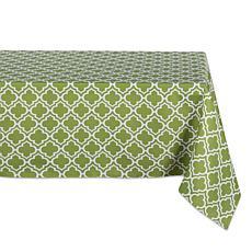 "Design Imports Green Lattice Outdoor Tablecloth - 60"" x 84"""