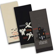Design Imports Halloween Embroidered Kitchen Towel Set of 3