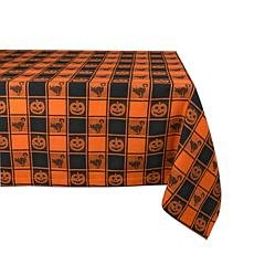 Design Imports Halloween Woven Check 52-inch by 52-inch Tablecloth