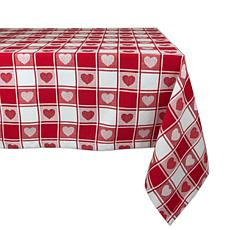 "Design Imports Hearts Woven Check Tablecloth - 52"" x 52"""