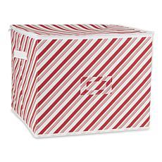 Design Imports Holiday Candy Stripe Print Ornament Storage Bin, Large