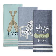 Design Imports Lakeside Embellished Kitchen Towel Set of 3