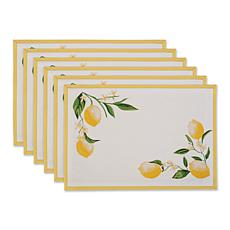 Design Imports Lemon Bliss Printed Placemat Set of 6