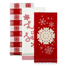 Design Imports Let It Snow Kitchen Towels Assorted Set of 3