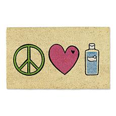 Design Imports Peace, Love, Hand Sanitizer Doormat